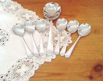 Vintage Stainless Steel set of 6 spoons with server as fruit spoons or dessert spoons