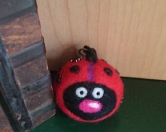 Ladybug Keychain, Love Bug, Needle Felted Ladybug, Felted Wool Ball, Zipper Charm