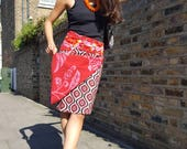 Free Size Reversible Wrap Cotton Knee Length Skirt on RED and PINK patterns Print