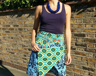 Free Size Reversible Wrap Cotton Knee Length Skirt on Blue and Black patterns Print