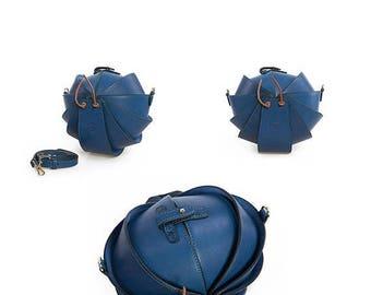 Blue leather bag, small blue purse, blue bag, blue leather purse, mini crossbody bag, small shoulder bag, cell phone crossbody, beetle bags