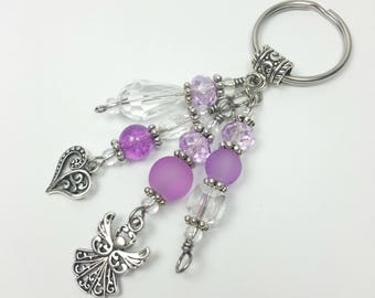 June Birth Month Personalized Keychain with your Choice of Charms.  Custom Keychain.  Lilac Colored Faceted Beads.  June Birthstone.