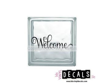 Welcome - Home Vinyl Lettering for Square and Rectangle Glass Blocks - Craft Decals