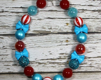 Cat in the Hat Inspired Red and Turquoise Handmade Chunky Bead Bubblegum Boutique Necklace