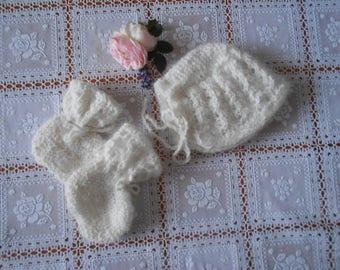Knitted set 100% handmade angora
