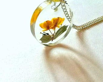 Real Orange Flowers in Clear Resin Pendant Necklace, Darwins Barberry, Pressed Flower Jewelry, Plant Terrarium Jewellery