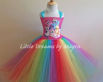 My Little Pony inspired tutu dress - MLP birthday party tutu dress inspired, Rainbow dash costume inspired size nb to 12years