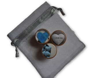 Set of 3 Blue I Love You Hearts Wine Cork Bottle Stoppers