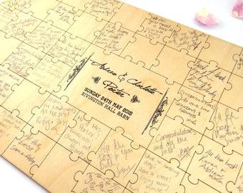 Jigsaw Style Wooden Wedding Guest Book