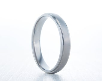 4mm Wide Brushed and polished Comfort Fit Titanium Plain band Wedding Ring