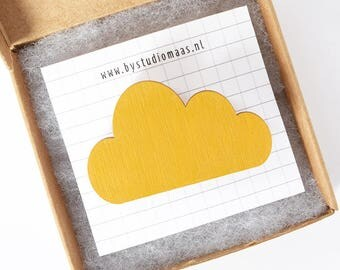 Wood cloud brooch, cloud pin, wood pin, ochre, yellow, for her, wedding, wood accessories, laser cut jewelry, wedding jewelry, corsages