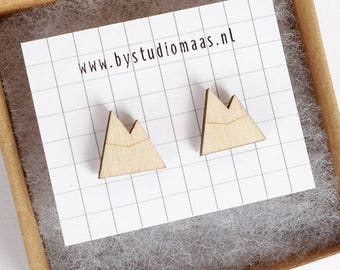 Mountain earrings, wooden mountain stud earrings, laser cut earrings, woodland earrings, winter, minimalistic jewelry, wooden post earrings