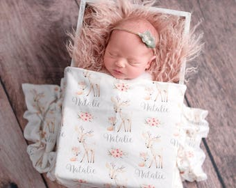 Personalized Woodland Baby Blanket Girl- Personalized Swaddle Blanket Girl Flowers Personalized Blanket Girl Handmade Baby Name Blanket Deer