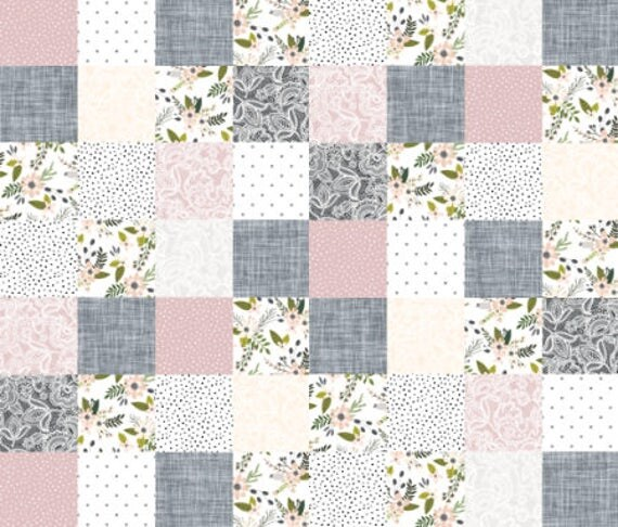 Floral Nursery Quilt Fabric by the Yard Cotton Cheater Quilt : organic cotton quilt fabric - Adamdwight.com