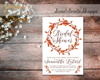 Fall Bridal Shower Invitation, Fall Wreath Invitation, Autumn Bridal Shower, Fall Leaves Invitation, Fall Wedding Shower, Autumn Invitation