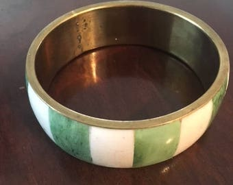 Vintage Green & White Bone Bangle