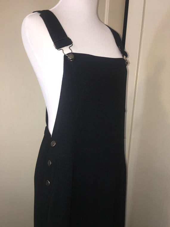 Black Overall Gown with Front & Side Pockets