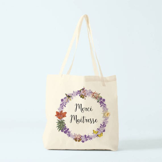 Custom bag, Thank you, write what you want in the wreath! 6 different colors of flowers.