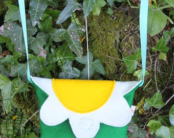 FORAGE Kids Nature Explorer Bag - Mini Daisy Shaped Treasure Collector Felt Pouch