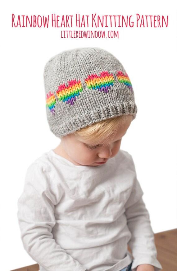Baby Rainbow Heart Hat KNITTING PATTERN / Heart Hat Pattern /