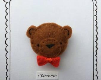 Hand embroidered cute felt brooch - Bernard the Bear