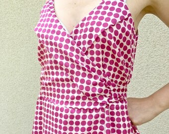 Pink polka dot full dress wrap spaghetti stripes summer dress M