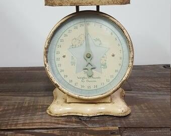 Vintage Metal Scale | Nursery Scale | Antique Scale | Retro Baby Scale | Baby Shower Decor | Kitchen Decor | Farmhouse Scale
