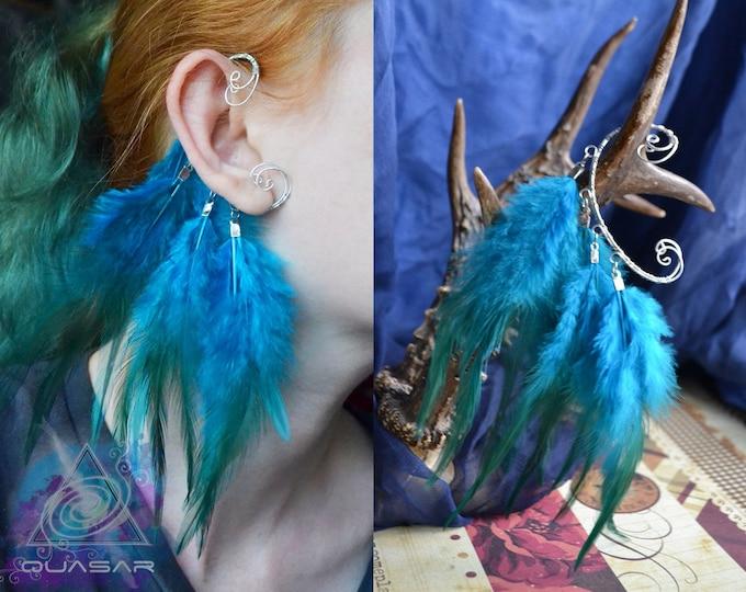 Ear cuff with blue feathers, wire earcuff, boho style jewelry, ethnic bijou,boho ethno style, ear cuff no piercing need