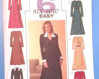 Butterick 4596 - Easy Misses' Dress Pattern - Sizes 6, 8, 10, and 12 - Ladies and Women's Mock Wrap Dress Pattern