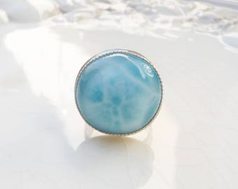 Atlantis Ring - Larimar and Sterling Silver - One of a Kind - Size 8.5