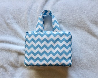 Quad Scripture case in Blue Chevron WITH handles - other colors and fabrics available upon request
