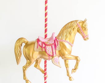 Large Gold Carousel Horse -Centerpiece, carnival and birthday decor