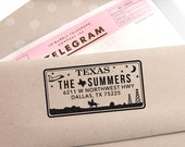 Custom Texas License Plate Return Address Stamp, Wedding Gift, Wedding Stamp, Save The Date Stamp, Self Inking Stamp, Housewarming Gift Idea