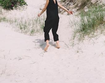 Linen jumpsuit / Loose linen Jumpsuit / Linen overall / Linen women romper / Linen clothes / Black jumpsuit / #34