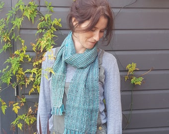 Hand Woven Woollen Unisex Striped Scarf - Turquoise and Grey