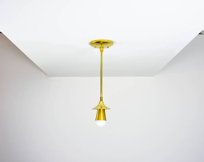 Free Shipping! Raw Brass Gold Pendant Light Trumpet Cone Metal Shades Vanity Modern Mid Century Industrial