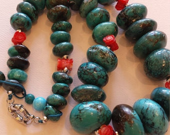 genuine turquoise and coral sterling silver necklace