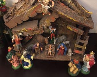 Vintage Depose / Landi / Nativity Scene / Barn and Figurines