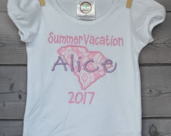 Personalized Vacation State Applique Shirt or Onesie Boy or Girl
