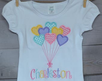 Personalized Valentine Bundle of Heart Balloons Applique Shirt or Onesie Girl or Boy