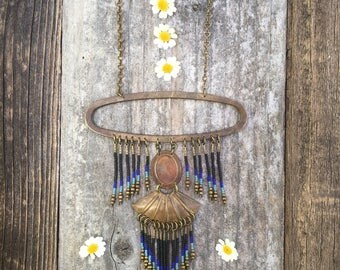 Matlalcueye... Brass and seed bead necklace, handmade, OOAK, beaded necklace, fringe necklace