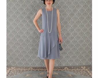 Grey Charleston dress with a ruffled skirt detail, Downton Abbey dress, Great Gatsby dress, 1920s tea dress, 20s flapper dress,