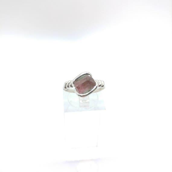 Raw Watermelon Tourmaline Crystal Ring | Sterling Silver Ring Sz 7.25 | Rough Tourmaline Ring | Uncut Gemstone Ring | Raw Tourmaline Jewelry