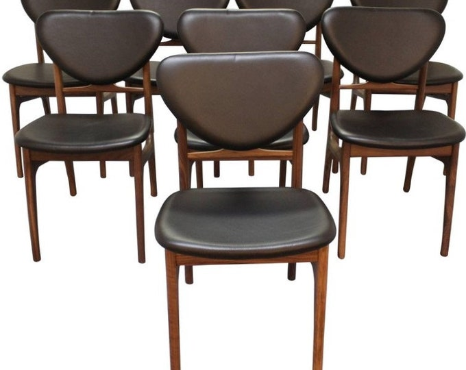 Dining Chairs Danish Modern Vodder Style Walnut Floating Seat Dining Chairs -Set of 8