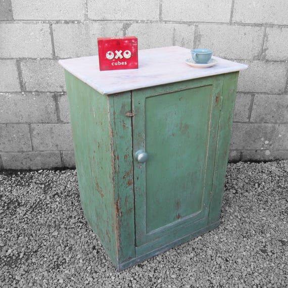 Vintage Rustic Green Cupboard Workmans Storage Cabinet 1940s