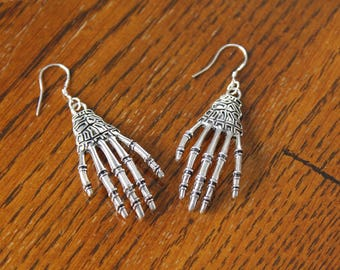 Skeleton Hand Earrings, Silver Earrings, Creepy Earrings, Gothic Earrings, Halloween Earrings, Skull Earrings, Hand Earrings