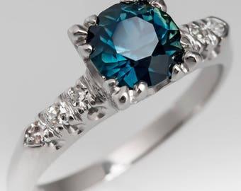 Sapphire Engagement Ring - 1.15 Carat Blue Green Sapphire With Single Cut Diamond Accents - Vintage 1950s Platinum Engagement Ring - WM12548