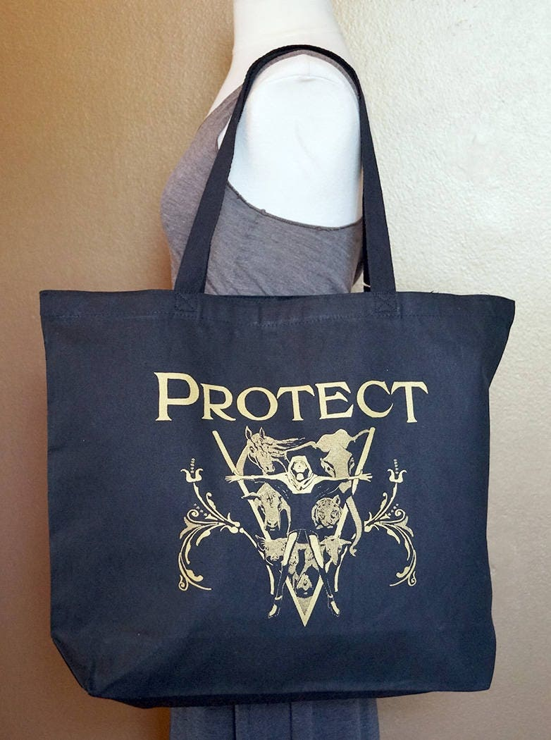 "Tote Bag ""Protect"" Gold Ink on Black Cotton"