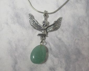 Egyptian Goddess charm, with hanging New Jade gemstone CCS02