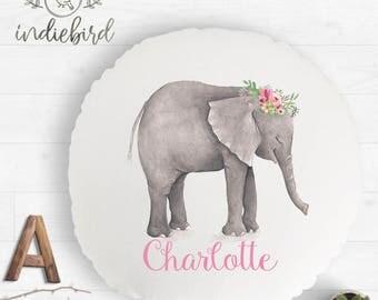 Personalised Elephant flower bouquet cushion, kids round cushion, nursery cushion, girls room decor, keepsake gift.